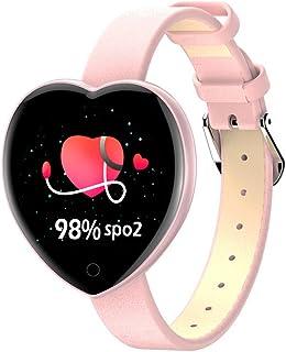 Eariy - Reloj inteligente con pantalla a color de 1,03 pulgadas, análisis de sueño, monitor de presión arterial, monitor de frecuencia cardíaca, recordatorio de llamadas, para mujer