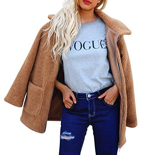 ASHOP Ropa Mujer, Chaquetas de Punto Mujer cálido Collar con Capucha Abrigo Jacket Mujer Cuero (marrón,S)