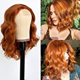 Oxeely Orange Red Wave Wig Short Bob ginger Wig Heat Resistant Glueless Orange Curly Wavy Synthetic Cosplay Wig for Fashion Women 14 Inch
