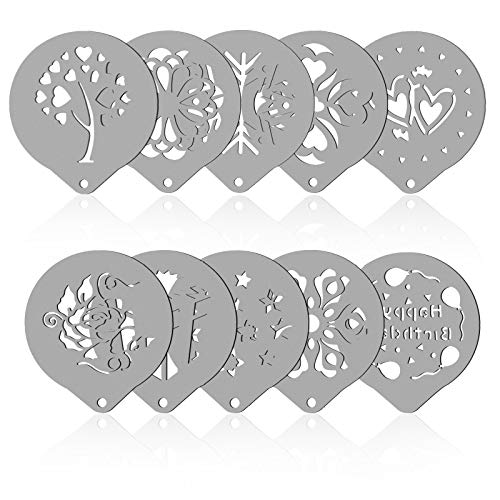 SOSPIRO 10Pcs Stainless Steel Coffee Template Stencil,Barista Tools Decorating Stencils for Latte,Cappuccino, Cupcake and Cookie