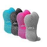CaiDieNu Pilates Socken mit Zehen rutschfeste Yoga Socken mit Gummisohlen,Noppen Socken Ideal für Tanz Fitness,Damen Baunmwolle Zehensocken,4 Paare