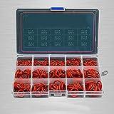 225 piezas Kit de sellado de Viton de silicona de anillo rojo de silicona 15 tamaños Juego de juntas tóricas Junta de arandela Anillo de goma Caja de set de surtido de silicona,BRV-225