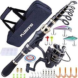 powerful PLUSINNO fishing rod and reel combo Telescopic carbon fiber fishing rod and sea …