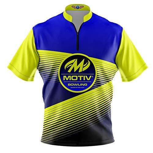 Logo Infusion Bowling Dye-Sublimated Jersey (Sash Collar) - Motiv Style 0331MT (L) Yellow Blue