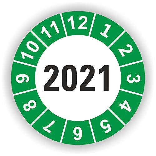 5-1.000 Stück Prüfplaketten Prüfetiketten Wartungsetiketten Jahresplakette 2021 Ø 30mm (Grün 30 Stück)