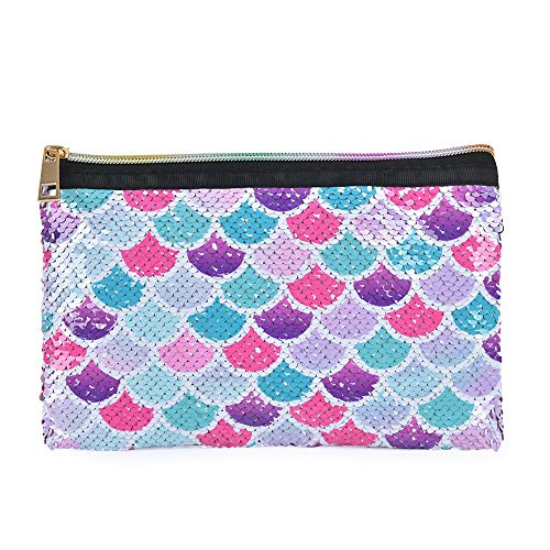 WERNNSAI Mermaid Toiletry Pouch - Reversible Sequin Mermaid Cosmetic Bag for Purse Pink Portable