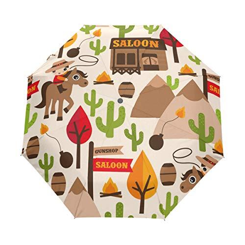 Faltbarer Reise-Regenschirm, Motiv: Pferd, Baum, Kaktus, Kunst, Sonnenschutz, winddicht, regendicht, tragbar, automatischer Sonnenschirm