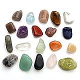 Jovivi - Juego de 20 piedras preciosas naturales, curativas, para chakras, amorfas