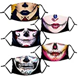 5pcs Scary Face_Mask Protection Bandanas Halloween Skull Print for Halloween Festival Party