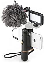 BOYA by-MM1 Shotgun Microphone with PSC1 SmartGrip Selfie Stand with PL30 Light for iPhone X 8 7 7 Plus Samsung Android Smartphone SLR Camera Computer Tripod Vlog Facebook Livestream YouTube Video