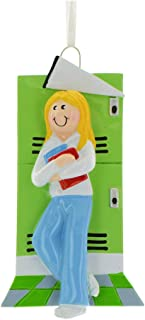 Personalized Teenage Girl Christmas Tree Ornament 2019 - Blonde Student 1st High School Collage Green Locker Hallway Study Book Memory First Year Sport Flag Grand-Daughter - Free Customization