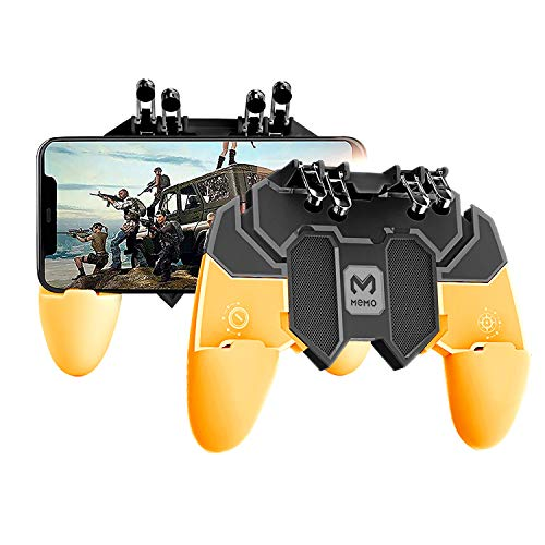 Newseego PUBG Mobile Game Controller, [Upgrade] Gamepad mit 6-Finger-Trigger für Shooter Sensitive und Aim Trigger Controller für Android & iOS für Knives Out - Gelb