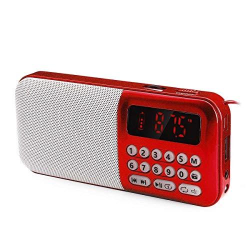 Lsmaa Radio Digital, USB FM 5v TF Reproductor de mp3 con la luz llevada DC estándar de 3,5 mm de Grueso Jack Ultravioleta de plástico, Muy Adecuado for el Uso Diario y el Uso de Viaje (Color : Red)