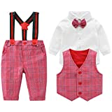 Baby Boys Gentleman Outfits Suits, Infant Long Sleeve Shirt+Bib Pants+Bow Tie +Vest Clothes Set,6-9M Red