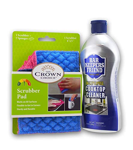 Best Cooktop Cleaner Pad and Cleaner Set - Non-scratch Stovetop kit - Includes Scrubbing Pad and Bar Keepers Friend Cooktops Cleaner - Clean burned ceramic, glass, stainless without scratching