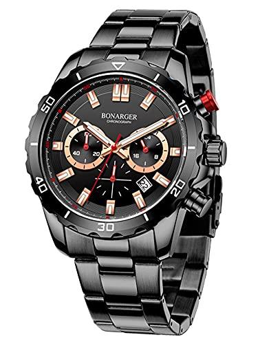 Reloj de Acero Inoxidable de Pulsera Cuarzo para Hombre Fecha Cronógrafo Impermeable