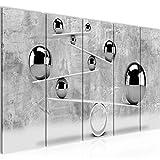 Runa Art Wandbild XXL 3D Kugeln 200 x 80 cm Grau 5 Teilig - Made in Germany - 504355b