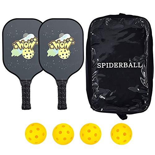 San Qing Juego de paletas de Pickleball de 2 Raquetas de Pickleball de Grafito Honeycomb Core Pickle Ball Racket con 4 Pickleballs y 2 Fundas