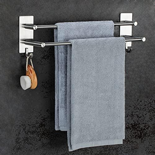 JS Handtuchhalter Ohne Bohren Handtuchstange Selbstklebend SUS304 Edelstahl Doppelter Handtuchhalter Bad Wand Anti-Rost mit Zwei Stangen und 2 Haken Multifunktion für die tür Badezimmerdusche Küche