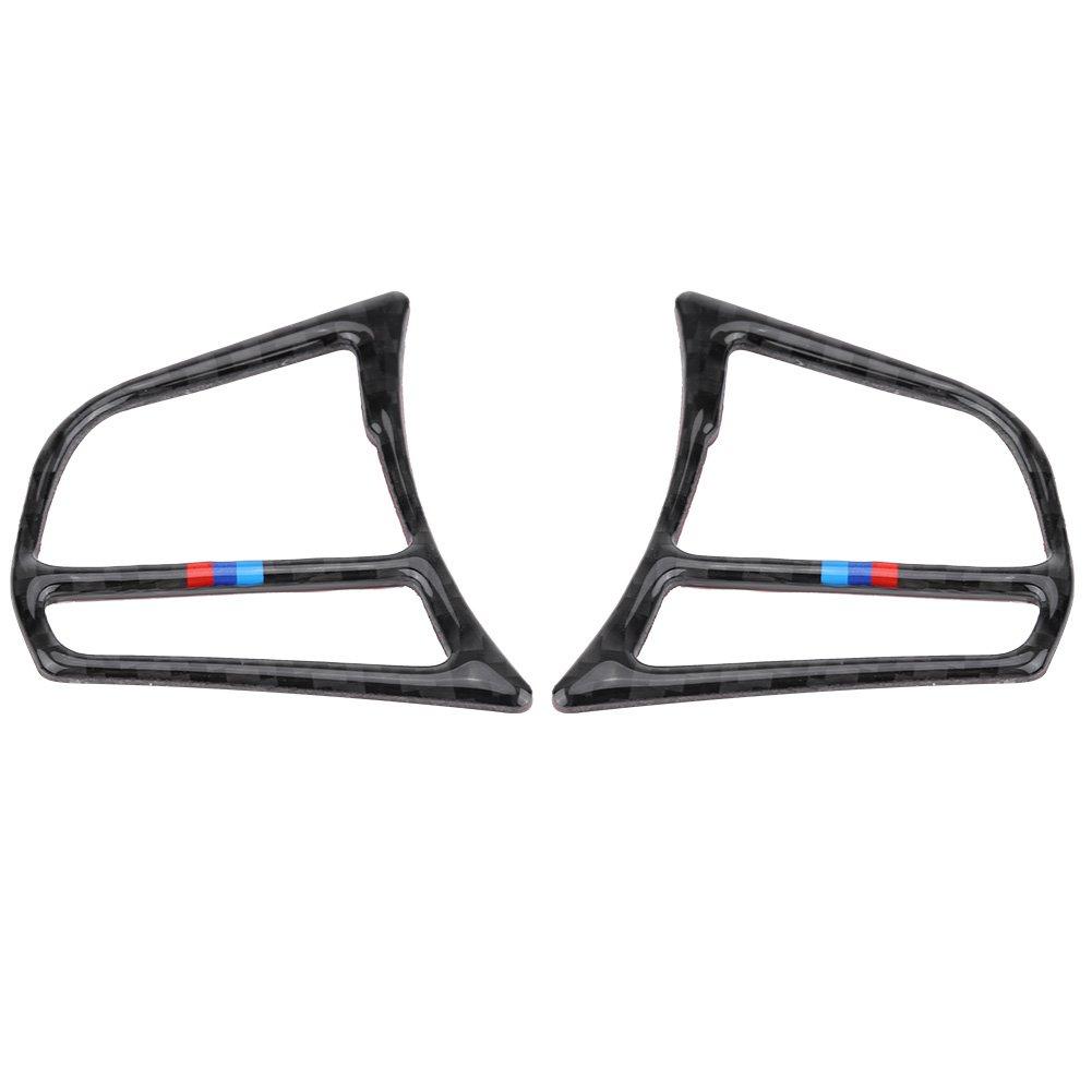 KIMISS Premium Steering Wheel Button Frame Carbon Fiber Cover Trim Sticker