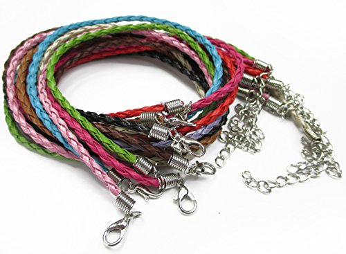 "ALL in ONE Mixed Color Braided Leather Cord Plaited Rope Necklace with Lobster Clasp Extended Chain 17""-19"" (MIX 20PCS)"