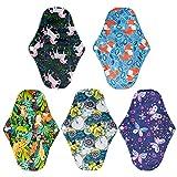 HEALLILY 5 Pzs Compresas Sanitarias Toallas Sanitarias Reutilizables Lavables Almohadillas Menstruales de Carbón de Bambú Almohadillas Panty Forros para Señora Chica Mujeres