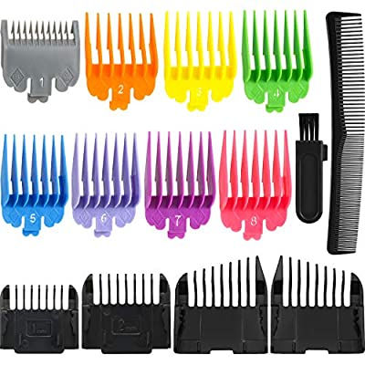 12 Pieces Colorful Hair Clipper Limit Comb Guide Attachment Cutting Guide Comb Replacement with Cleaning Brush and Hairdressing Styling Comb Compatible with Wahl Clippers and Trimmer Comb