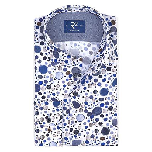 R2 Amsterdam Herren Business Hemd weiß mit Punktedruck, Größe:40, Farbe:White 4