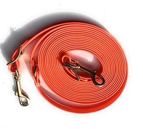 Viva Nature Biothane 26 Farben 16mm Longe Langzügel oder Schleppleine Nachsuche, rostfreie Karabiner, für Hunde und Pferde bis 900kg (5m, orange)
