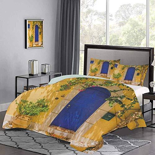 UNOSEKS LANZON - Juego de edredón para niños, diseño de puerta griega tradicional con flores y árboles, diseño mediterráneo, juego de cama de lujo fresco y ligero, multicolor