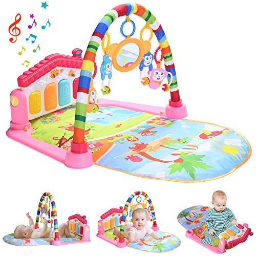 Baby Play Mat Activity Gym with Kick Piano Keyboard, Baby Jungle Gym Mat Designed with Colorful and Detachable Baby Toys in Activity Center for Tummy Time Boys and Girls Aged 0 to 36 Months (Pink)