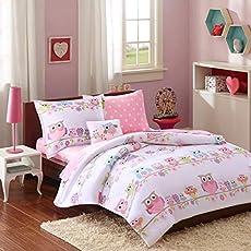 Mi Zone Kids Wise Wendy Queen Comforter Sets For Girls - Pink , Owl – 8 Pieces Kids Girl Bedding Set – Ultra Soft Microfiber Childrens Bedroom Bed Comforters