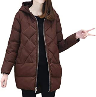 Womens Thick Winter Down Coat Quilted Puffer Plus Size Jacket with Hoods