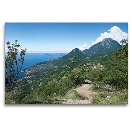 Premium Textil-Leinwand 120 x 80 cm Quer-Format Höhenweg bei Sasso am Gardasee | Wandbild, HD-Bild auf Keilrahmen, Fertigbild auf hochwertigem Vlies, Leinwanddruck von SusaZoom