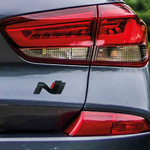 P048 | Heck Emblem Cover N-Performance Kofferraumdeckel 2er-Set Aufkleber | 3M 2080 Car Wrapping Folie | Car Styling | Dekorset (V3 Schwarz Glanz/Carbon/Rot)