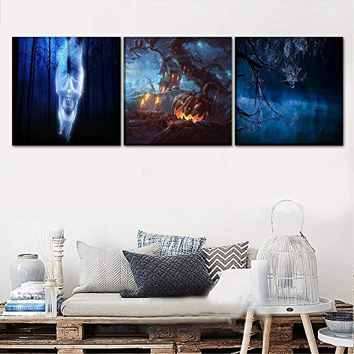 ZZJY 3 Pieces Canvas Wall Art Non-Woven Canvas Prints Image Framed Artwork Painting Picture Photo Home Decoration Ready to hang Landscape And Pumpkin Poster Mural Frame/40x60cmx3