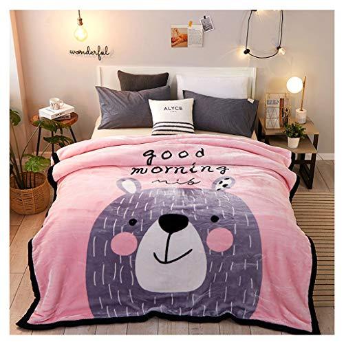 Couverture Double Épaississez 3 kg Chaud et Confortable Nap Microfibre Hiver Peut Pas Se permettre la Balle Little (Color : Pink Bear)
