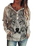 Women's Wolf Print Sweatshirt Western Style Animal Wolf Hoddie-XL