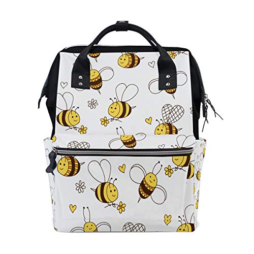 Travailler dur Little Honey Bee Sacs à couches de grande capacité Sac à dos momie Multi Fonctions Sac de soins infirmiers à couches Sac à main Sac à main pour enfants Soins de bébé Voyage Daily Women