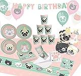Krause & Sohn Set de fiesta de cumpleaños para niños, muchos piezas, vajilla de cumpleaños, decoración de mesa (perro y gato)