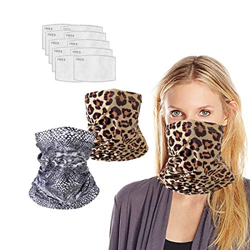 Neck Gaiter with Filters for Men Women, Face Cover Multi Funtion, Mask Half Face Protective Bandana, Washable Reusable, Infinity Scarf, Serpentine Grain Balaclava, Gift for Adult, Anti Dust Protection
