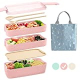 Ozazuco Bento Box for Kids Japanese Lunch Bento Box, 3-In-1 Compartment - Wheat Straw, Leakproof...