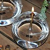 Peri Glass 1245 - Lámpara de aceite redonda de cristal mm, 11 cm, soporte mecha de acero latonado