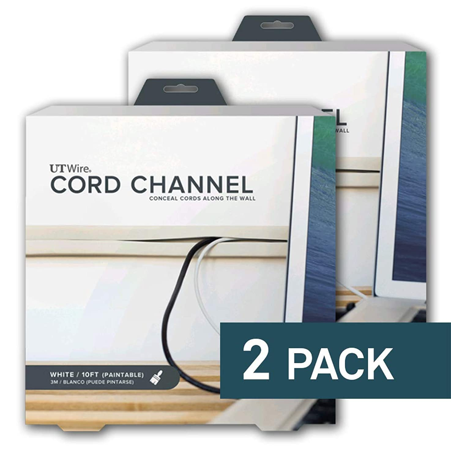 UT Wire - 10 Foot Flexible Cord Channel - (White) | 2 Pack