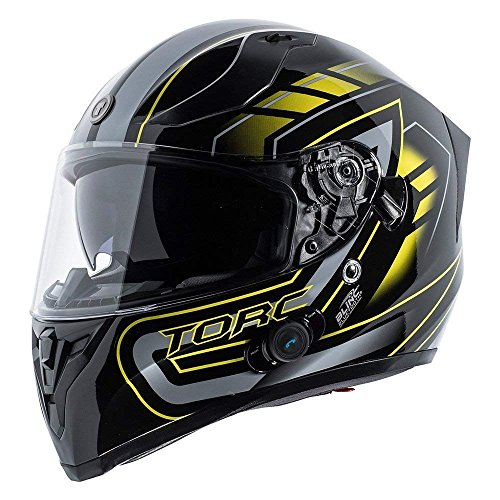 TORC T15B Bluetooth Integrated Full Face Motorcycle Helmet With Graphic (Gloss Black Horizon-Large)