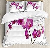 Ambesonne Magenta Duvet Cover Set, Wild Orchids Petal Florets Branch Romantic Flower Exotic Plant Nature Print, Decorative 3 Piece Bedding Set with 2 Pillow Shams, Queen Size, Violet