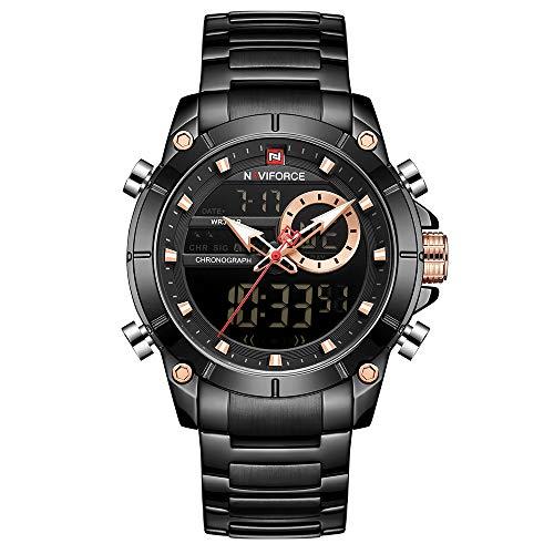 Relógio Masculino Naviforce NF9163 BB Pulseira em Aço Inoxidável - Preto