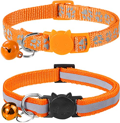 Taglory Reflektierend Katzenhalsband mit Sicherheitsverschluss und Glöckchen, 2-Stück Verstellbar Halsband Katze Kitten, 19-32cm Orange