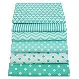 6 piezas de cuartos de grasa de color verde que acolchan paquetes de tela, 46x56cm Tela de costura de algodón superior para acolchar, 18'x 22'