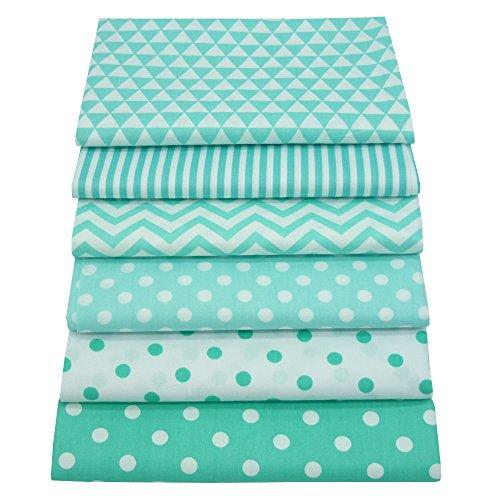 6 piezas de cuartos de grasa de color verde que acolchan paquetes de tela, 46x56cm Tela de costura de algodón superior para acolchar, 18